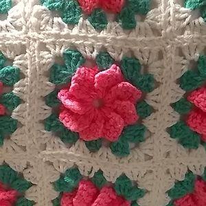Lovely, yummy, bright pink homemade crochet pillow